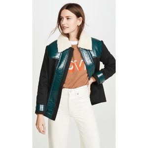 Paul & Joe sister Greenwish Faux Fur Jacket